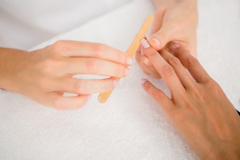 Beautician segregowania klientów żeńscy gwoździe przy zdroju piękna salonem zdjęcia royalty free