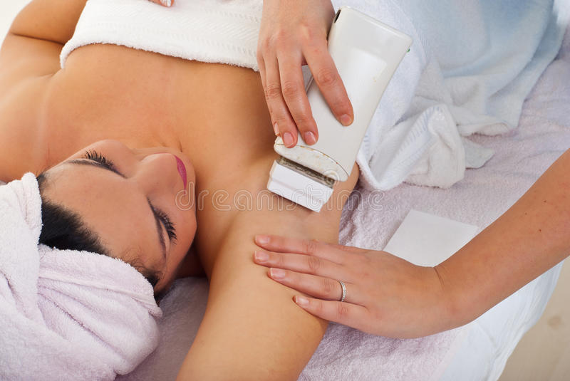 Download Beautician Waxing Woman's Armpit Stock Photo - Image of attractive, armpit: 16918442