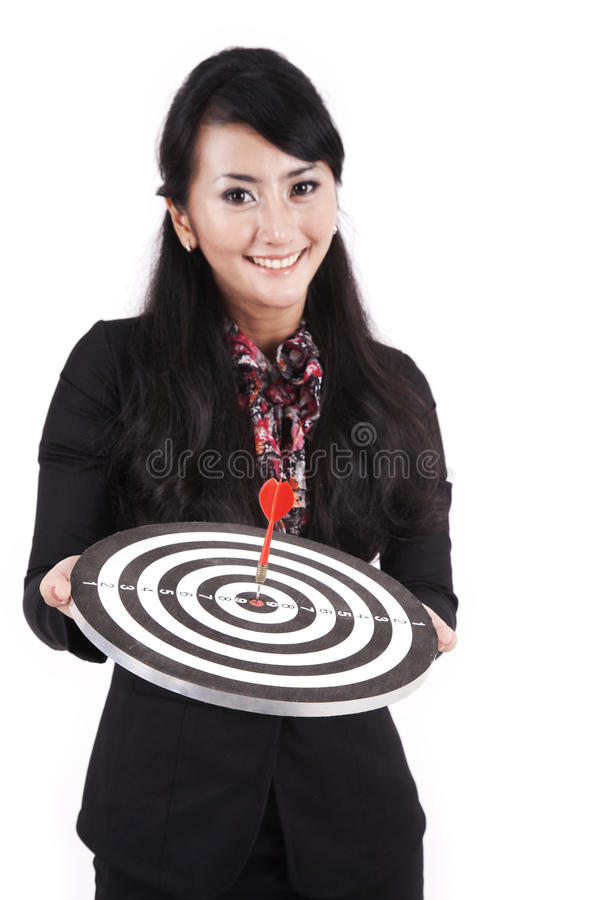 Beautidul Businesswoman Holding Dartboard Royalty Free Stock Image