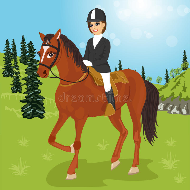 Beautidul caucasian young woman sitting on a horse outdoors royalty free illustration