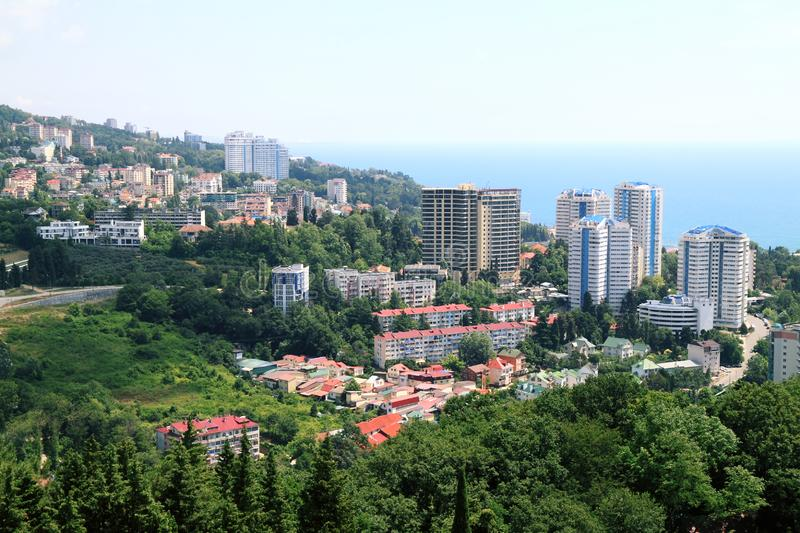 Beauties and green nature in the city Sochi. Modern buildings of city Sochi in an environment of the green nature