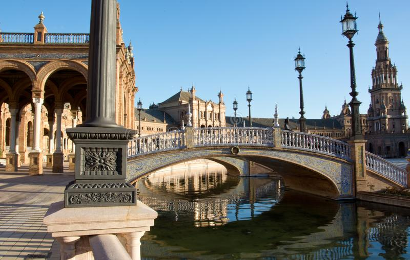The canal bridge at plaza de Espana, on a beautiful sunny day. The beauties of modern and classical Spain, with traditions and colors stock photo