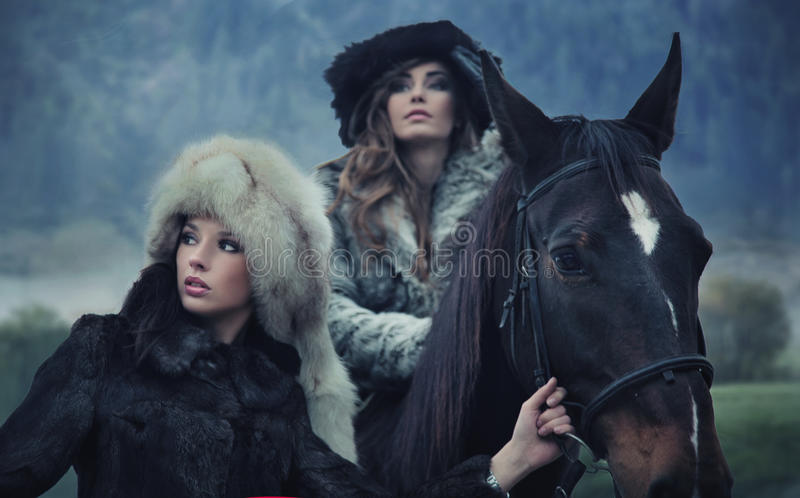 Download Beauties Posing With A Horse Stock Image - Image: 16899679