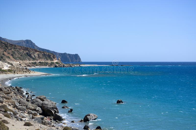 The splendid coast of southern Crete royalty free stock photography