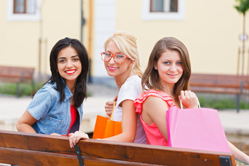 Download Beauties After Shopping stock image. Image of brunette - 33049235