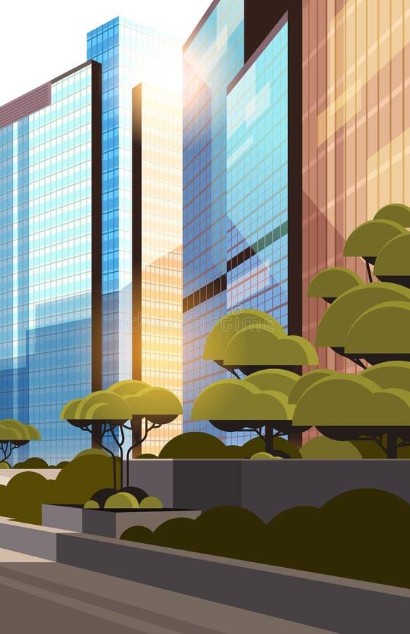 Beautifil市街道日出地平线高摩天大楼现代都市风景背景平的垂直的特写镜头 库存例证