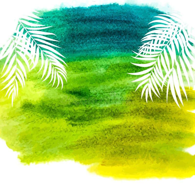 Beautifil棕榈树与水彩画水彩油漆背景传染媒介例证的叶子剪影 皇族释放例证