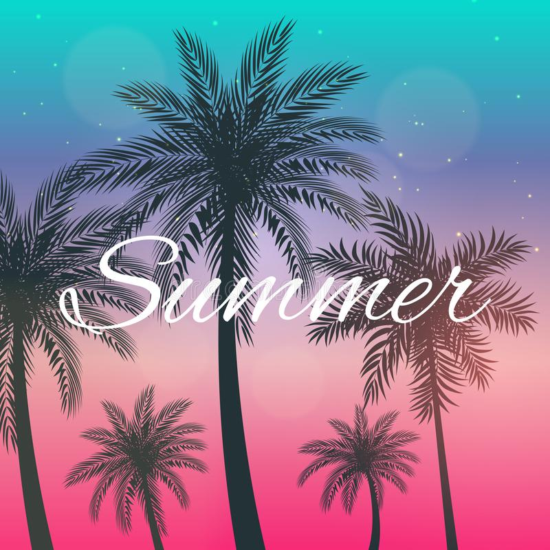 Beautifil棕榈树叶子剪影你好夏天背景传染媒介例证 皇族释放例证