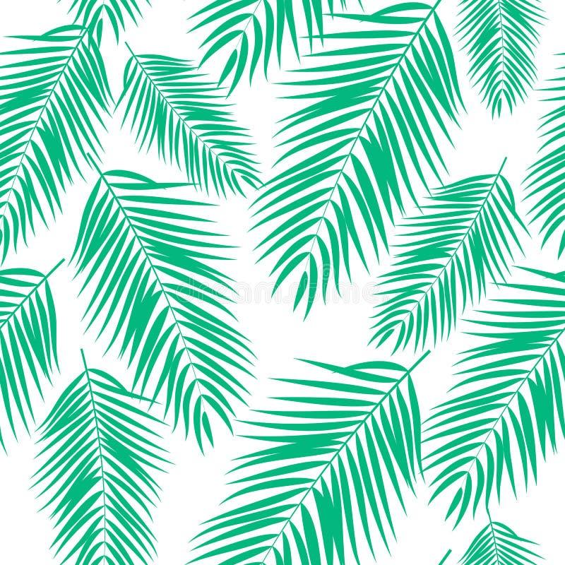 Beautifil棕榈树叶子剪影无缝的样式背景传染媒介例证 库存例证