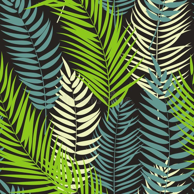 Beautifil棕榈树叶子剪影无缝的样式背景 向量例证