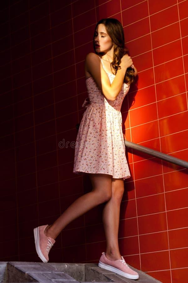 Beautifil brunetki młoda dorosła pozycja na schodkach i słomiani spadki na ona twarz zdjęcie royalty free