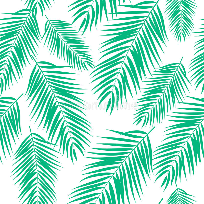 Beautifil-Palme-Blatt-Schattenbild-nahtlose Muster-Hintergrund-Vektor-Illustration stock abbildung