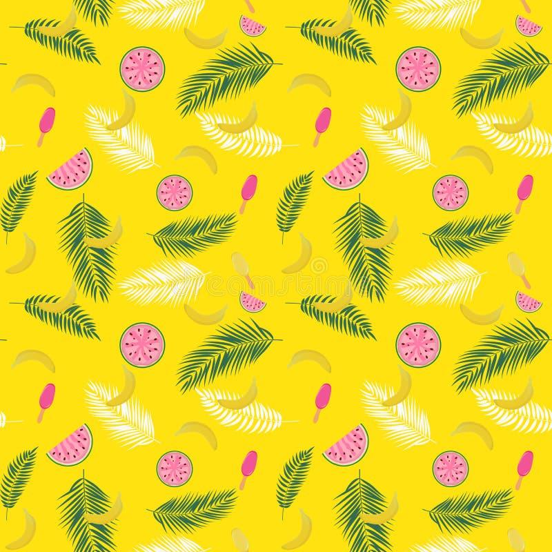 Beautifil-Sommer-nahtloser Muster-Hintergrund mit Palme-Blatt-Schattenbild, Wassermelone, Banane und Eiscreme Vektor vektor abbildung