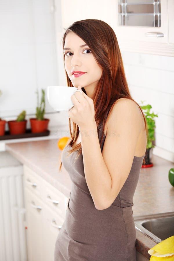 Download Beautifu Caucasian Woman In The Kitchen Stock Image - Image: 19761131