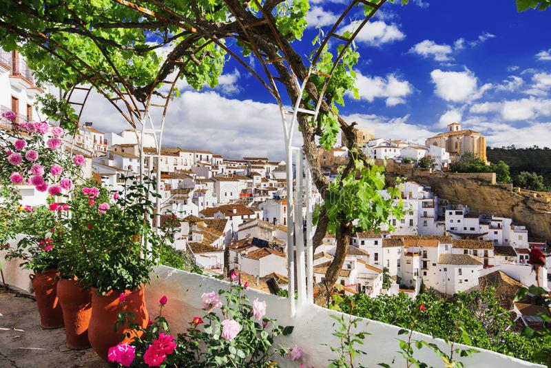 Setenil de las Bodegas village, one of the beautiful white villages Pueblos Blancos of Andalusia, Spain. Beautifui view of Setenil de las Bodegas village, one of royalty free stock photo