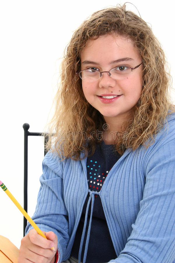 Beautiful 12 Year Old Girl Holding Pencil