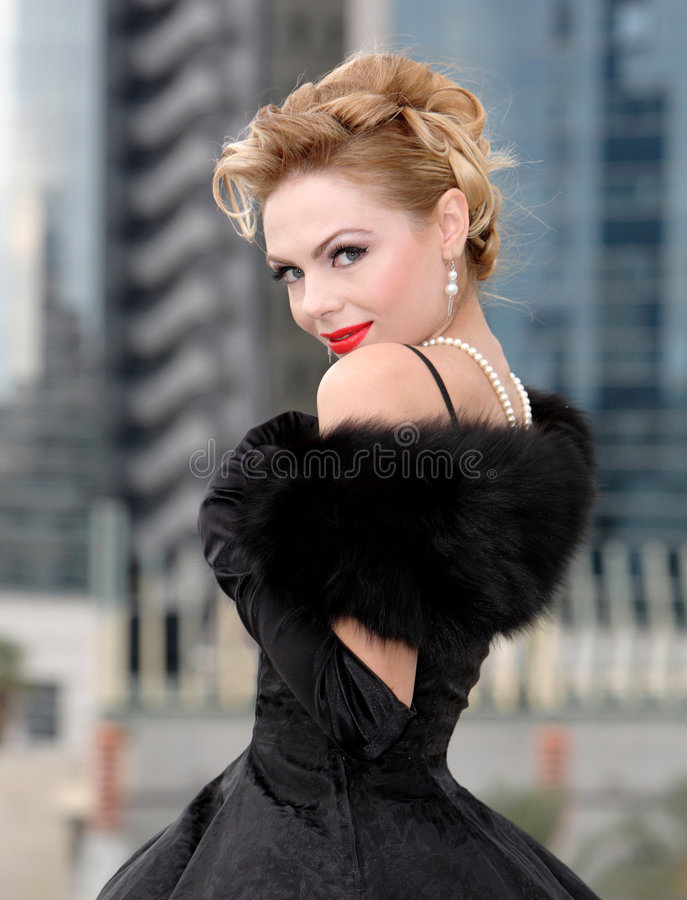 Beautiful. Woman in the city stock photography