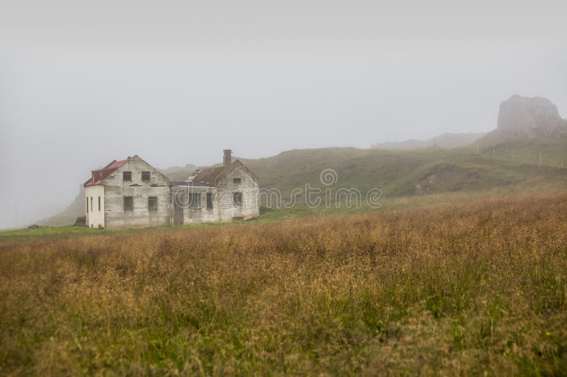 Beautiful abadoned house in the fog royalty free stock photography