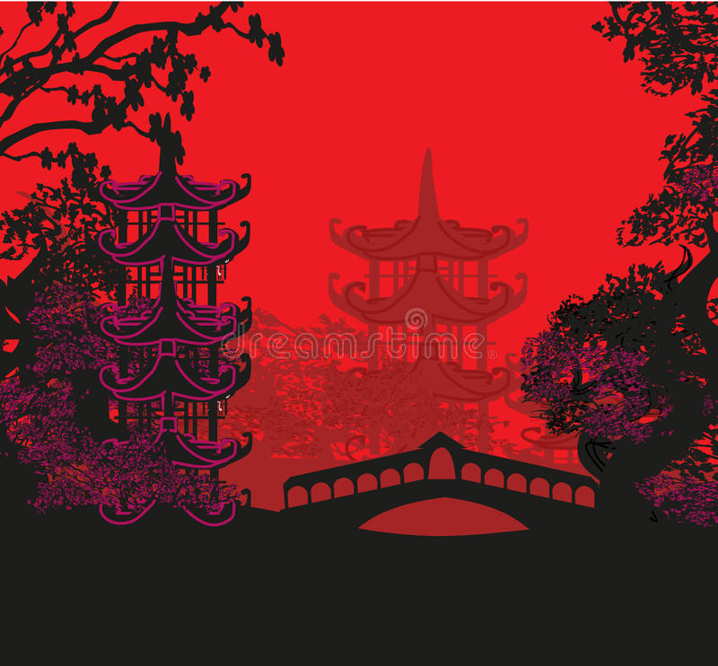 Beautiful abstract asian landscape royalty free illustration