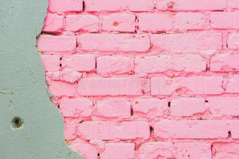 Beautiful abstract background from concrete and Painted pink brick wall texture urban background, space for text stock image