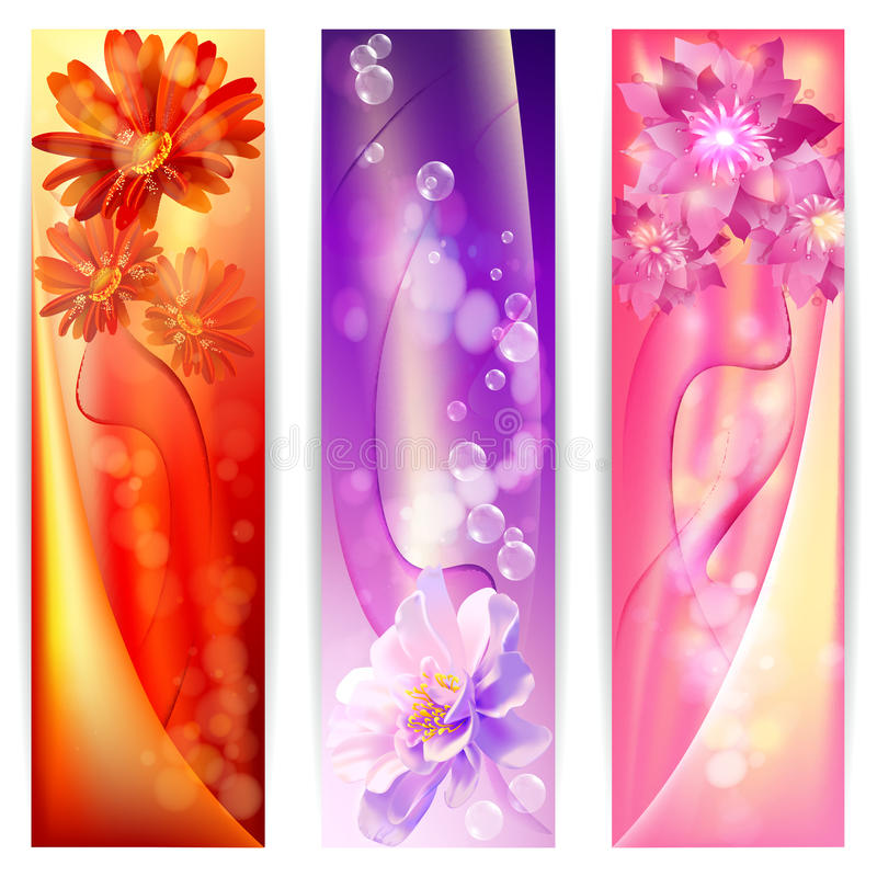 Beautiful abstract background with flowers banner royalty free illustration