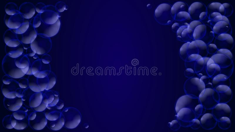 Geometric abstract blue background with blue translucent air bubbles or water drops. Vector illustration. royalty free illustration
