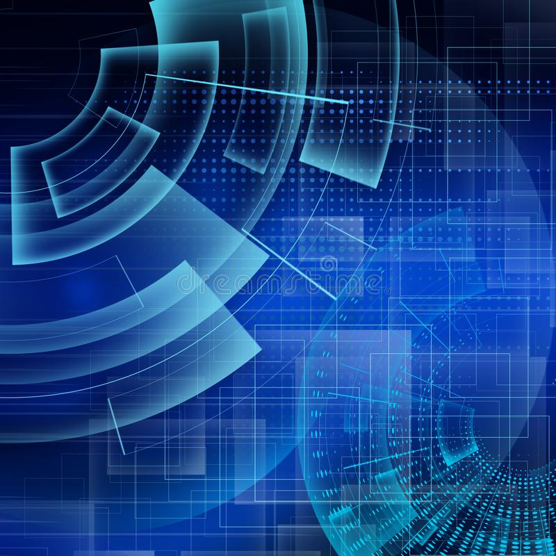 Abstract blue soft technology background, illustration royalty free illustration