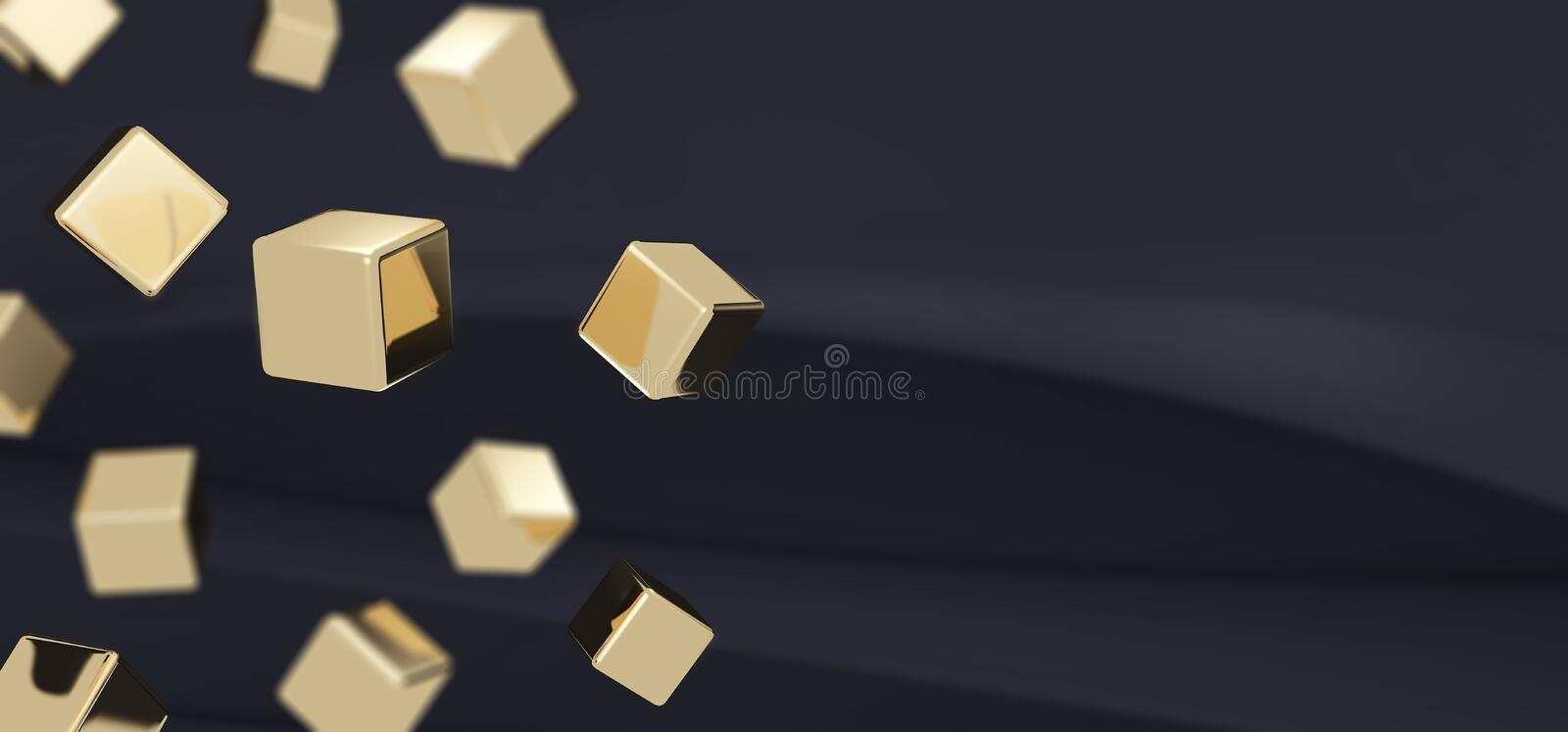 Beautiful abstract dark gray background with smooth gold cubes with selective focus. 3D rendering stock illustration