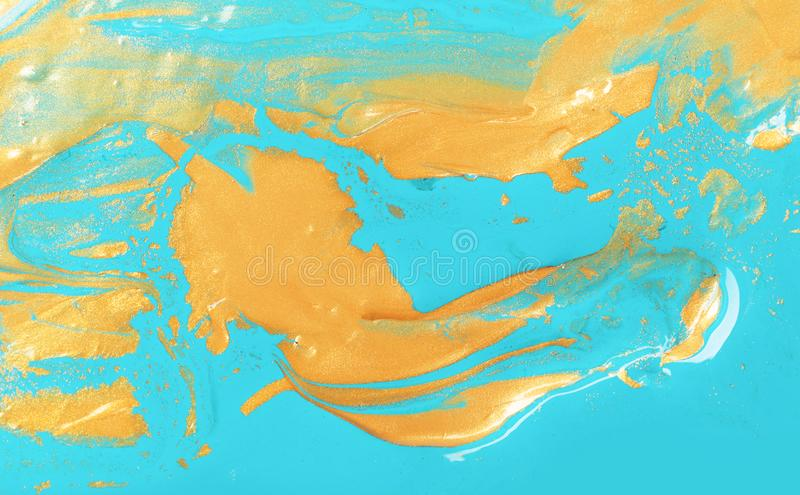 Beautiful abstract drawing made with gold paint stock photos