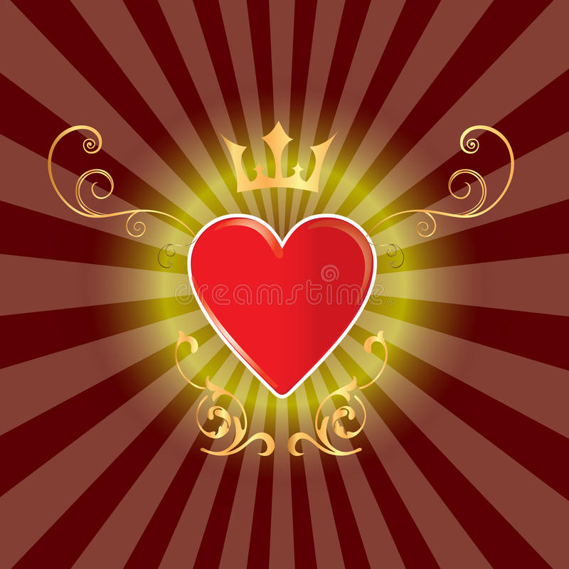 Beautiful abstract heart. Abstrackt vector gold heart light text modern royalty free illustration