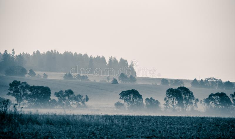 A beautiful, abstract monochrome mountain landscape in blue tonality. royalty free stock image