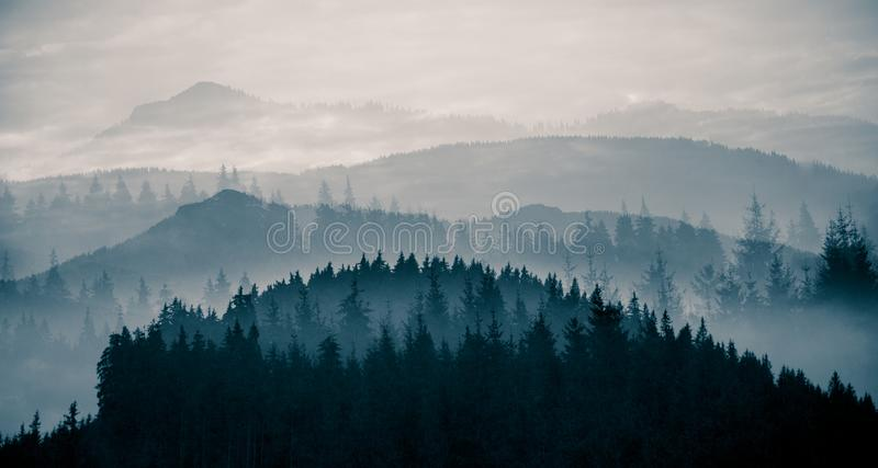 A beautiful, abstract monochrome mountain landscape in blue tonality. stock photography