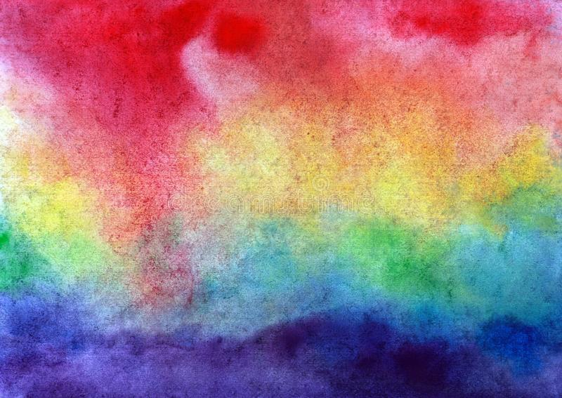 Beautiful abstract multicolor smudges watercolor background, rainbow sky. In hand painted watercolor background spring summer design royalty free illustration