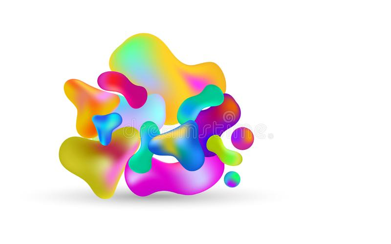 Abstract multicolored 3d gradient liquid drops on white background royalty free illustration