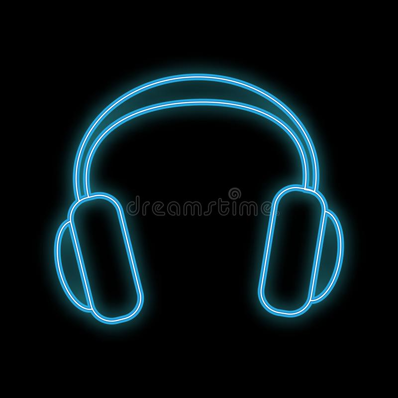 Beautiful abstract neon bright glowing icon, full-size signboard with music headphones and copy space on black background. Vector vector illustration