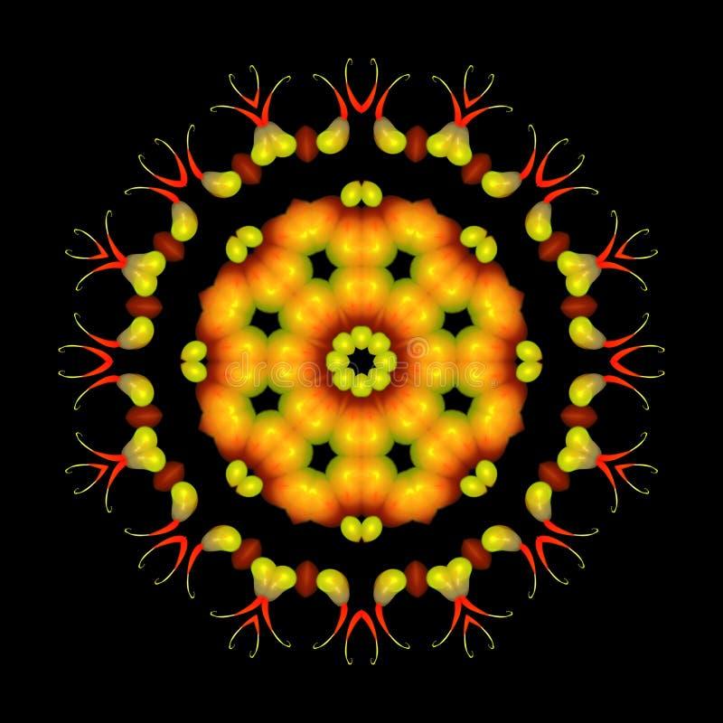 Beautiful abstract orange mandala ornament on black isolated background royalty free illustration