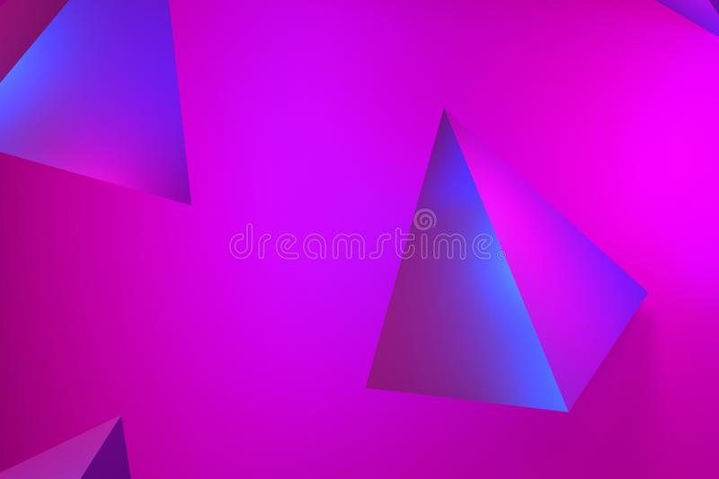 Beautiful abstract pink neon glow, neon pyramid backgrounds. pink and lilac glow on tetrahedrons - 3D rendering. royalty free stock photo