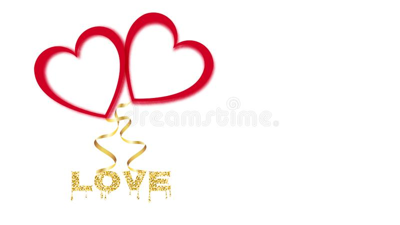 Beautiful abstract red neon glowing shiny balloons of their hearts with gold ribbons for Happy Valentine`s Day on white background vector illustration