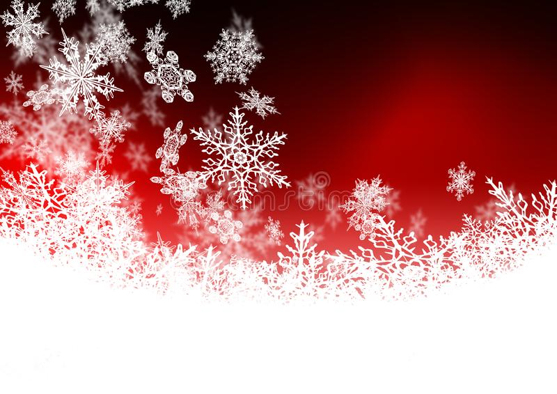 Beautiful Abstract Ruby Red Background with Snowflakes. Seasonal Greeting Card Backdrop with Falling Snow Elements and Colour Gradient - Falling Snow royalty free illustration