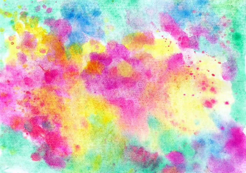 Beautiful abstract smudges of yellow pink, red blue and green colors in hand painted watercolor background stock photography