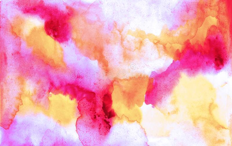 Beautiful abstract smudges of yellow pink, red and white colors in hand painted watercolor background stock photos