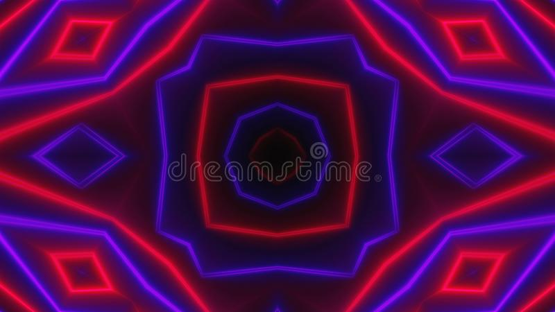 Beautiful abstract symmetry kaleidoscope with shiny neon lines, 3d render backdrop, computer generating background stock illustration