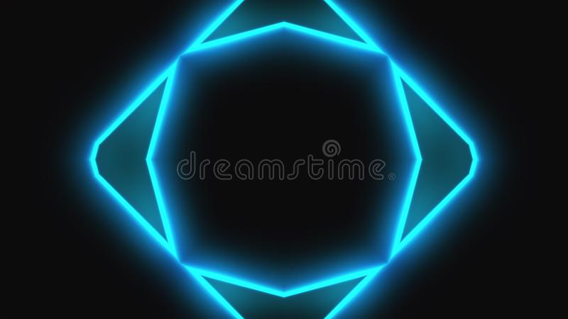 Beautiful abstract symmetry kaleidoscope with shiny neon lines, 3d render backdrop, computer generating background royalty free illustration