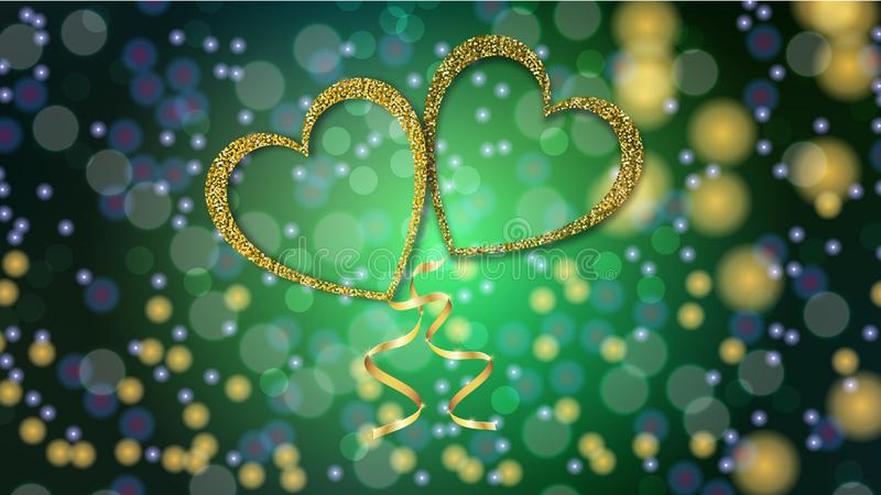 Beautiful abstract texture of golden love balloons in the shape of hearts and a golden ribbon for Happy Valentine`s Day royalty free stock photos