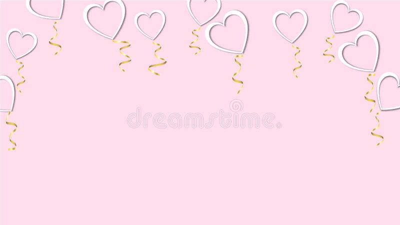 Beautiful abstract texture of white balloons in the shape of hearts with shadows and a golden ribbon for Happy Saint Valentine`s. Day on a pink background vector illustration
