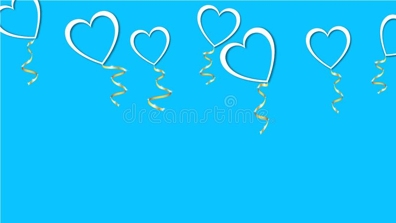 Beautiful abstract texture of white balloons in the shape of hearts with shadows and a golden ribbon for Happy Valentine`s Day vector illustration