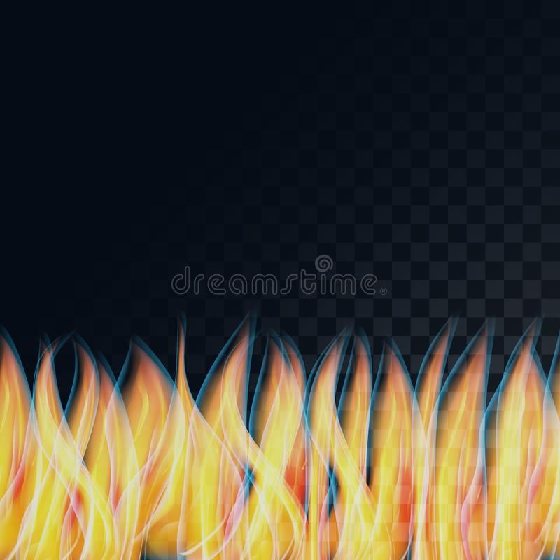 Beautiful abstract transparent luminous yellow hot flames, fire on a semitransparent dark, squared black background from squares. Vector illustration stock illustration