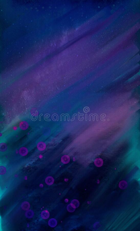 Beautiful abstract Winter decorations with blurred watercolor strikes and splashes. Overflowing in dark colors royalty free stock photography