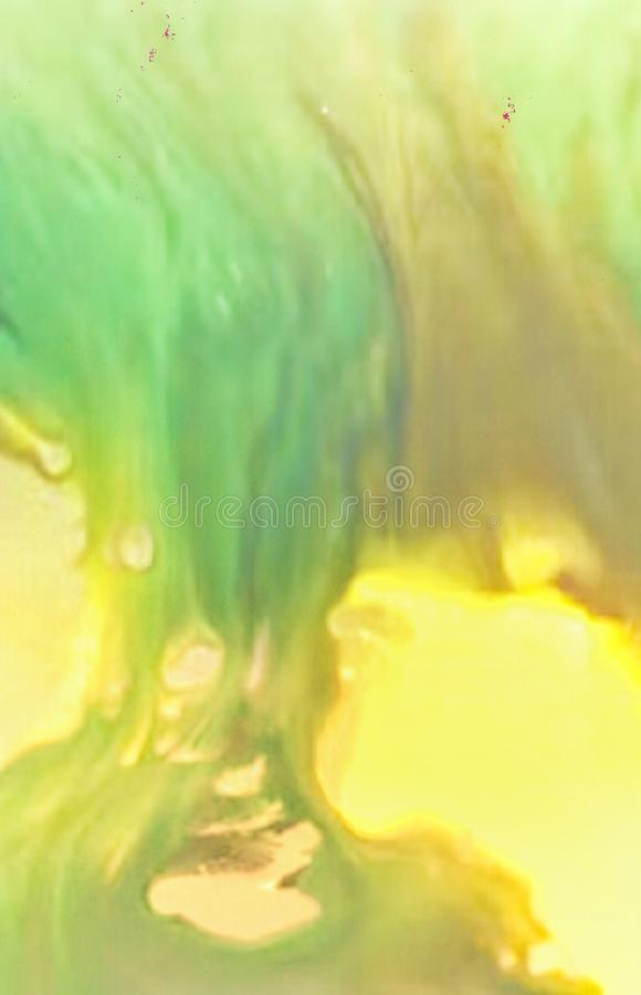 Beautiful abstract Winter decorations with blurred watercolor strikes and splashes. Overflowing in dark  yellow and green colors. Beautiful abstract Winter royalty free stock photo