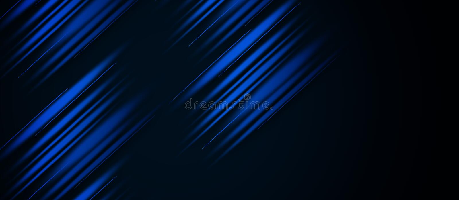 Acceleration speed motion on night road. Light and stripes moving fast over dark background. Abstract blue Illustration. vector illustration